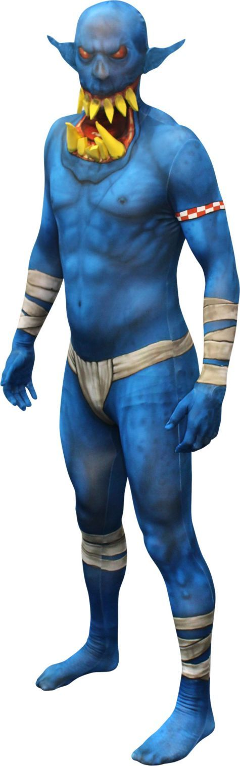 Adult Blue Jaw Dropper Orc Morphsuit - Party City