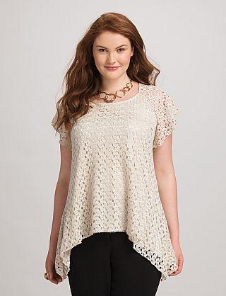Plus Size Crochet-Lace Top | Dressbarn
