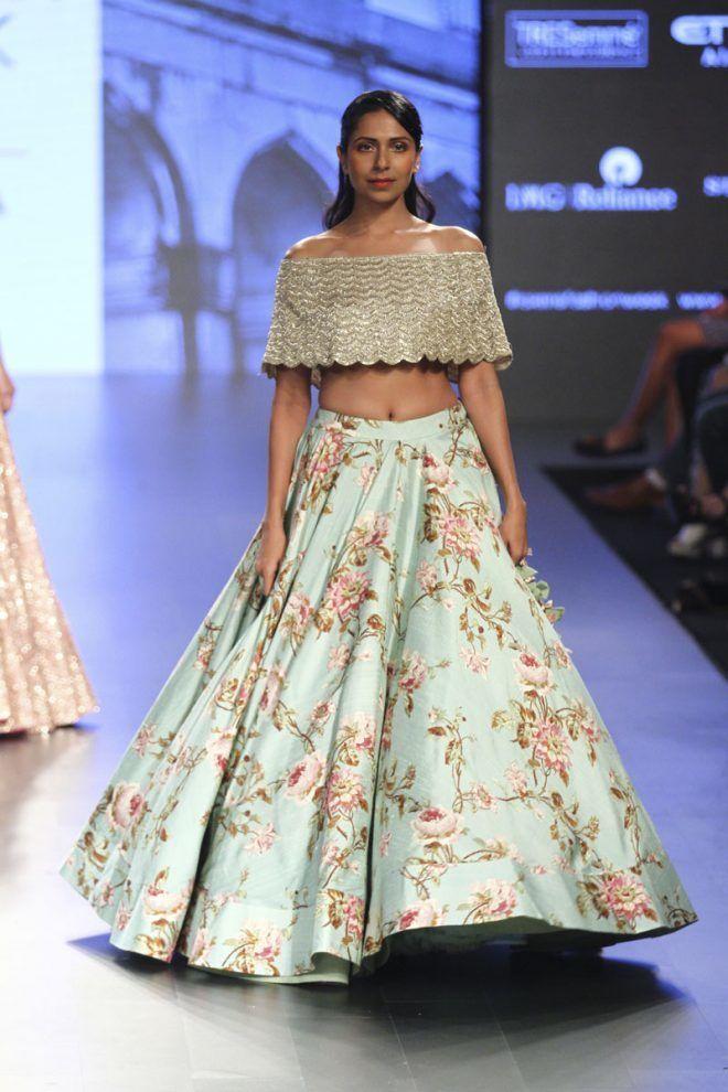 Light Lehenga - Floral Lehenga with an Off Shoulder Gold Blouse | WedMeGood  #wedmegood #indianbride #lfw #offshoulder #lehenga #lightlehenga #floral