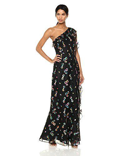 Ml Monique Lhuillier Women S One Shoulder Gown With Embro Dresses Online Elegant