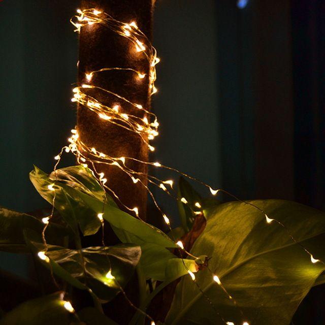 5 М 50LED 3 х АА Батареи Powered Медные Украшения LED провод Фея Огни Строки Лампы для Рождественский Праздник Свадьба PTSP