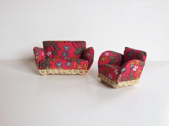 Sofá y sillón años 60 miniatura // Muebles retro por tiendanordica, $29.00
