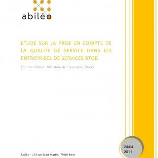 ETUDE  SUR  LA  PRISE  EN  COMPTE  DELA  QUALITE  DE  SERVICE  DANS  LESENTREPRISES DE SERVICES BTOB Commanditaire : Ministère de l'Economie, DGCIS   24/04. http://slidehot.com/resources/entreprises-services-bto-b-rapport-dgcis-http-www-industrie-gouv-fr-pratique-normalisation-entreprises-services-btob-rapport-pdf.26750/