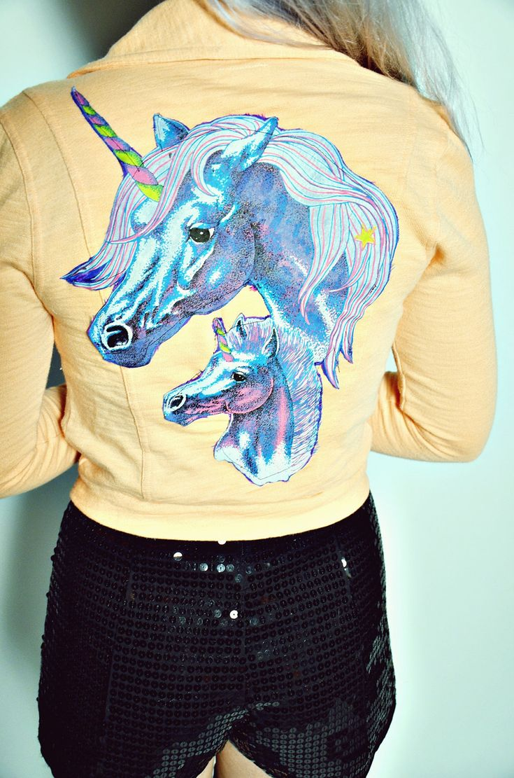 DIY UNICORN Patch Coral Motorcycle-style Cotton Cropped ...