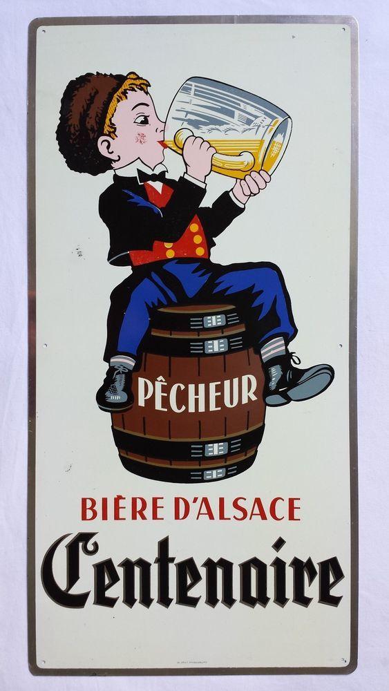 Ancienne tôle publicitaire Bière du PECHEUR - Brasserie d Alsace - Fischer - 67