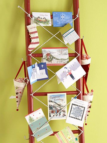 Make pretty holiday cards part of your decor by displaying them on a painted ladder.