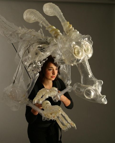 """""""Air"""" Vacuum Formed Plastic, Resin, Fabric, Wood, Fibreglass Rod Puppet based on the element Air. Moveable clenching fingers."""