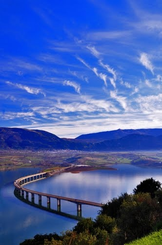 VISIT GREECE| The bridge of lake Polyphytos near Servia; the Pieria mountains can be seen in the background. #Macedonia  #Greece #Kozani