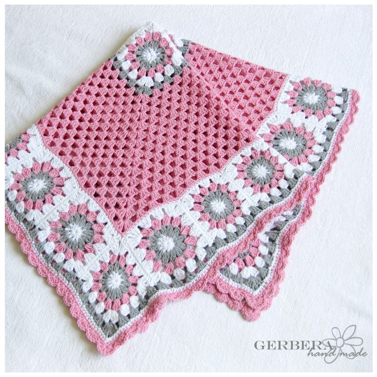 Crochet baby blanket girl Cottage style gray by GerberaHandmade