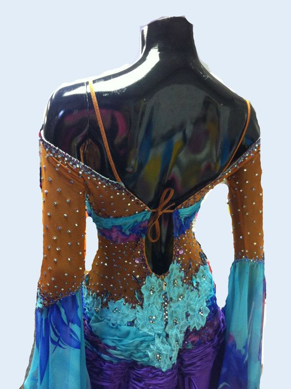 Blue Ballroom Dance Dress by DesignByNatasha on Etsy