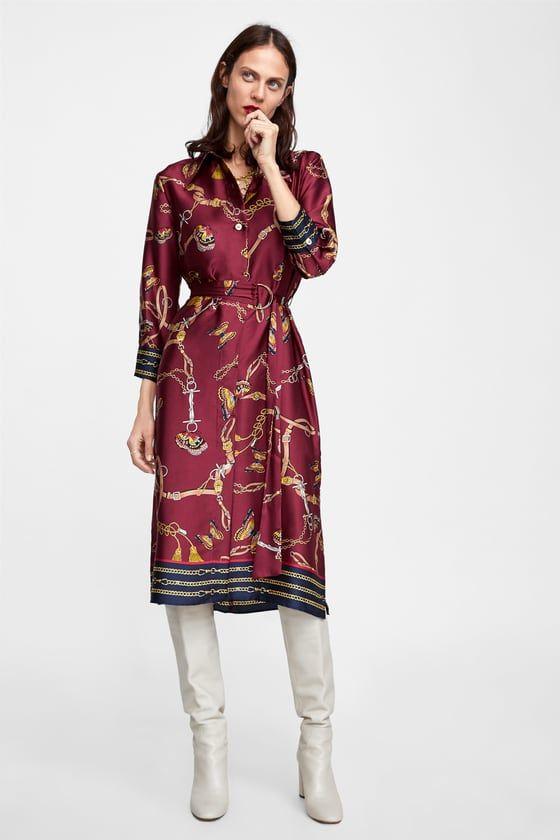 57838d29679bb VESTIDO CAMISERO ESTAMPADO CADENAS   Zara   Pinterest   Dresses ...