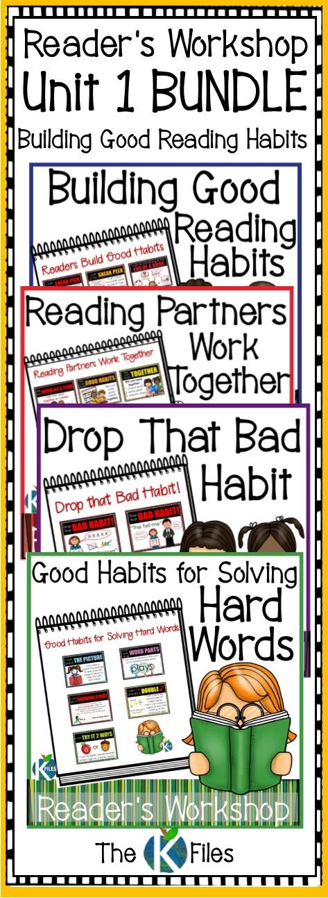 Poster set for Lucy Calkin's Units of Study, Unit 1: Building Good Reading Habits.  Use this poster set and anchor charts for a bulletin board display for Reader's Workshop in kindergarten, first grade and second grade.  Kids refer to these during Daily 5, Read to Self, Guided Reading, Partner Reading and read alouds.  Use for personal reading goals.  TheKausFiles.blogspot.com
