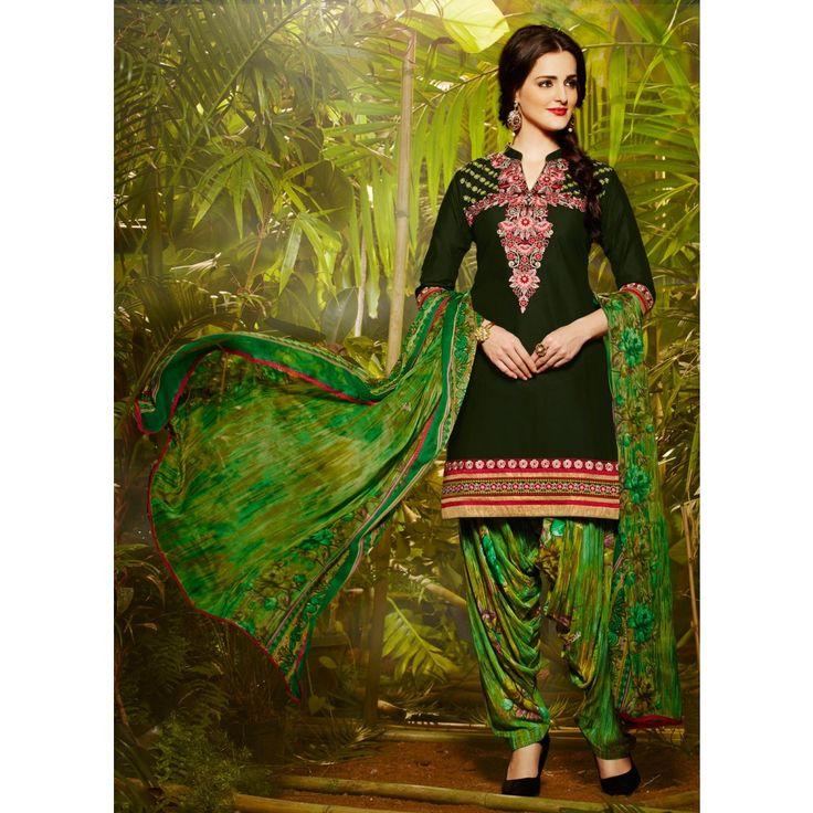 Black Cotton Designer #Patiyala Kameez With Dupatta- $28.97