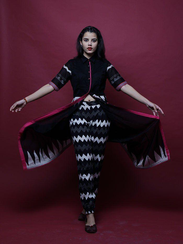 Black - White Block Printed Kika Pants