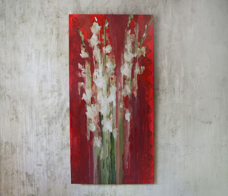 Gladiolus white on a red background 200-100cm, canvas, oil, painting, 2016 Yalanzhi Julia