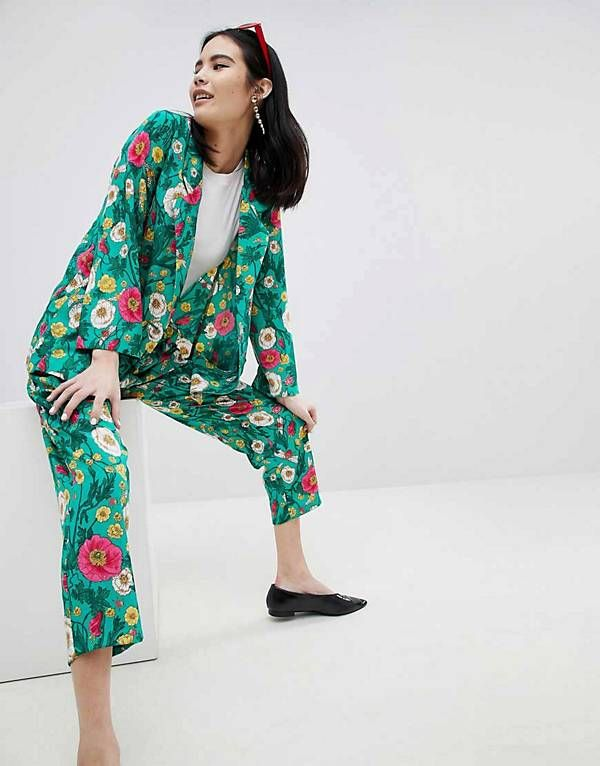 bc5e28ed875 Monki Floral Print Blazer   Trousers Co-Ord