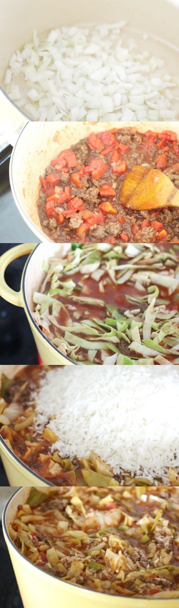 my family couldn't get enough of this! Unstuffed Stuffed Cabbage Roll Soup with Ground Beef and Tomato