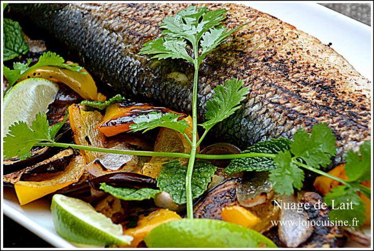 Bar grillé ou Loup de Mer au Citron Vert, Aubergine et Poivron Jaune
