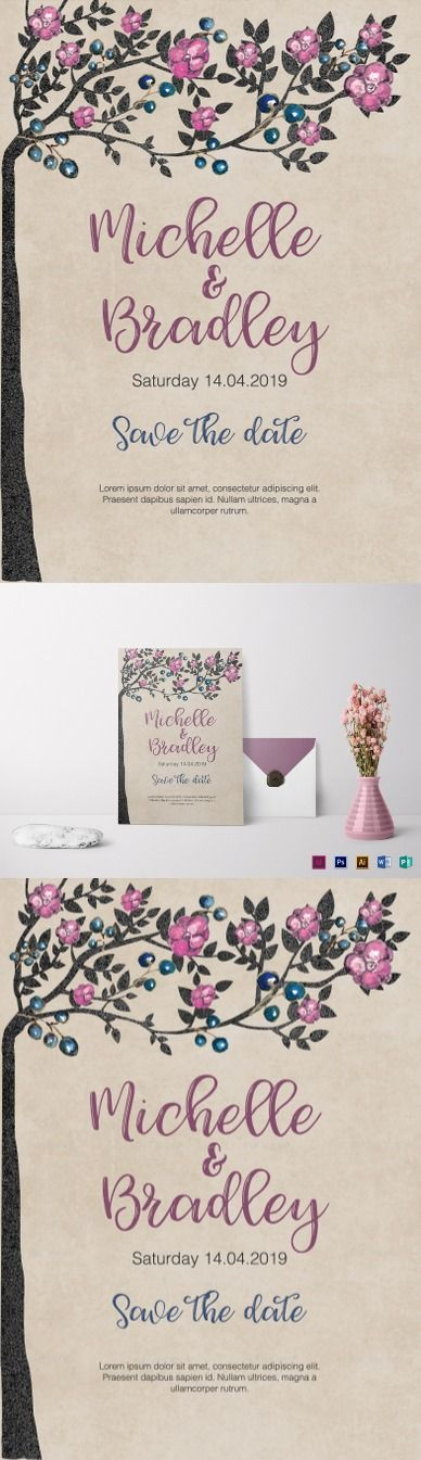 Tree Wedding Invitation Template$12 - Formats Included :Illustrator, InDesign, MS Word, Photoshop, Publisher - File Size :5.25x7.25 Inchs