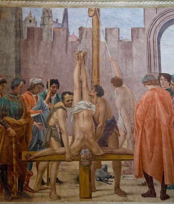 Brancacci Chapel - Florence. Filippino Lippi - Crucifixion of St. Peter.