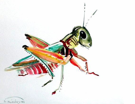 Grasshopper, original watercolor painting, 9 X 12 in, kids wall art