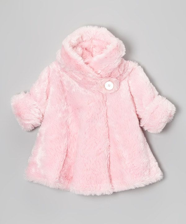 Look at this #zulilyfind! Pink Faux Fur Hooded Swing Coat - Infant by Corky & Company #zulilyfinds