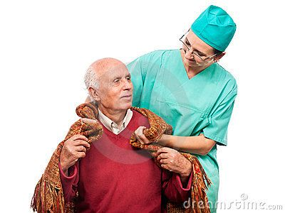 Nurse helping elderly men with blanket. Isolated against white background.