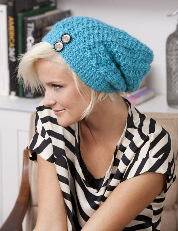 This Blue Slouchie Beanie from Vickie Howell is an adorable accessory to wear during the fall or winter months. It's an easy crochet pattern that uses Stitch.Rock.Love. Sheep(ish) from Caron in a cool Turquoise color.