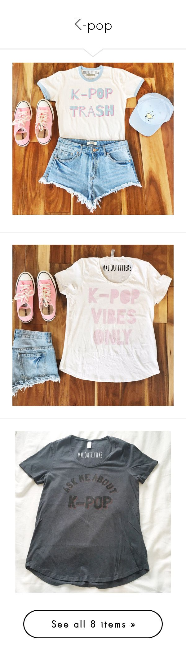 """K-pop"" by theviparmy ❤ liked on Polyvore featuring tops, t-shirts, outfits, kpop, silver, women's clothing, collared shirt, scoop neck tee, blue tee and blue collar shirt"