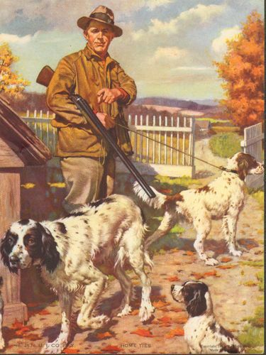 J.F.Kernan English Setter Hunting Dogs Vintage 1943 Original Antique Art Print