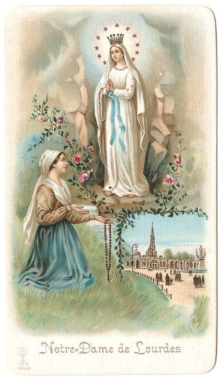 Our Lady of Lourdes & St. Bernadette in Grotto by 12StarsVintage