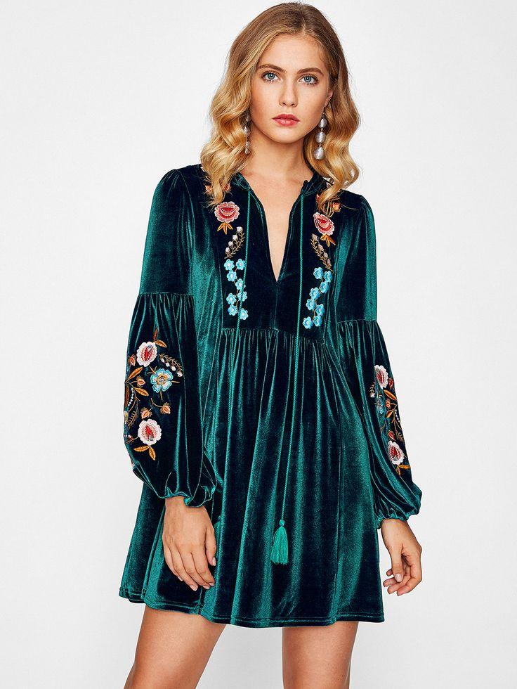 Модное бархатное платье с бахромой, рукав-фонарик
