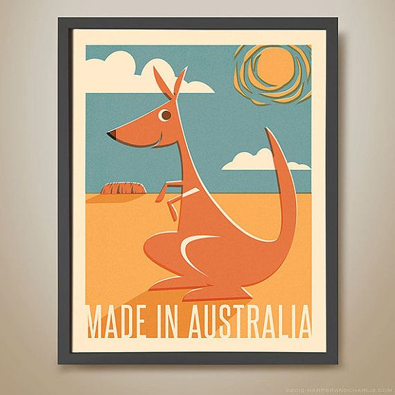 MADE IN AUSTRALIA. Kangaroo Poster. Kangaroo Illustration. Childrens Art Poster. Kids Bedroom Art. Australia Print. Kangaroo Print.