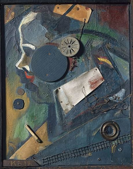 Kurt Schwitters, Great Works: Merz Picture 1A (The alienist), 1919  (Possibly the first Merzbild)