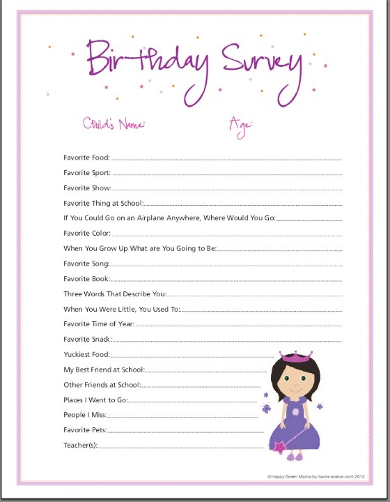 Birthday Girl Survey For Memory Box Future Family