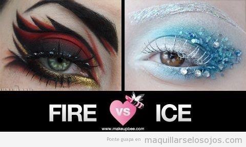 Maquillaje de ojos de fantasía, fuego y hielo