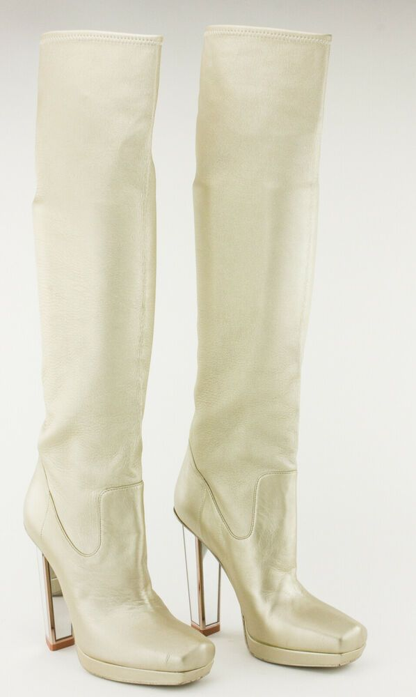feefe7acb57 eBay  Sponsored SAINT LAURENT Gold Shimmer Tall Leather Boots with Chunky  Heel