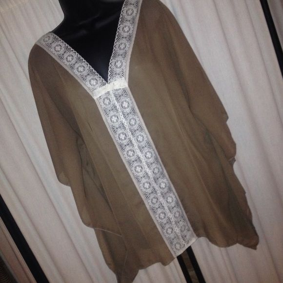 $✂️NWOT Sheer taupe batwing top with lace trim❤️ L&B high quality boutique brand sheer batwing top in a women's medium. RUNS BIG!!!!!  without tags. Never worn before. Only been on a manikin in my boutique. L&B Tops