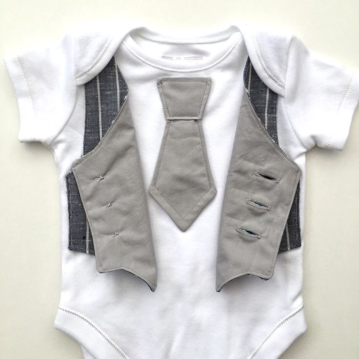 Baby boy clothing: Bodysuit with attached blue striped vest and pale grey tie  + This special outfit uses upcycled fabric for the vest (from a pair of mens…