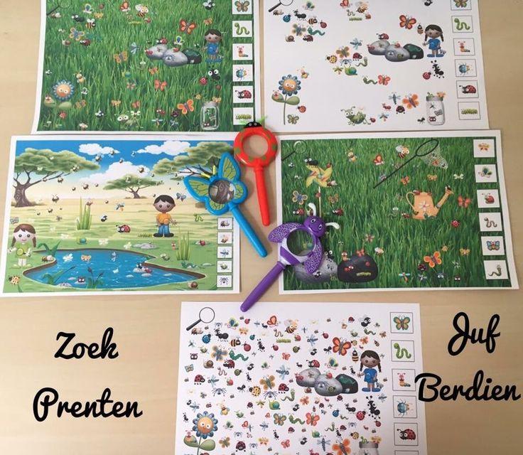 Juf Berdien zelfgemaakt zoekplaatjes Zoekprenten zoeken kleuter thema kriebelbeestjes kriebeldiertjes lente klas kleuters