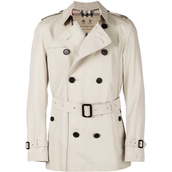 Burberry Kensington trench coat (3,150 CAD) ❤ liked on Polyvore featuring men's fashion, men's clothing, men's outerwear, men's coats, mens fur collar coat, mens double breasted trench coat, mens double breasted coat, mens short trench coat and burberry mens coat