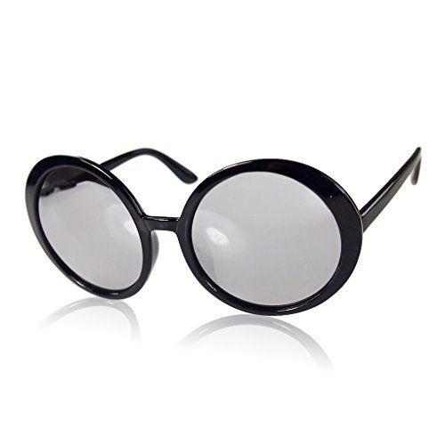 Fashion Women Retro Round UV400 Sonnenbrille Reflective Glas-Brillen Helle schwarz + weiß
