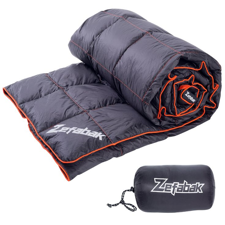 """Down Blanket for Camping Indoor Outdoor by ZEFABAK Puffy 600 Fill Power Duck Down Cloudlet Blanket or Sleeping Bag Replacement,Down Filling Weight 11 OZ,with Reflective Logo, 80"""" x 54"""", Black. Down blanket by Zefabak is the thing that you need when you go camping or stay on couch,feeling the soft touch,light weight and puffy thermal efficiency. Our Down Blanket use 20D Ripstop Nylon,Machine Washable, Repels water,stains and odors. The Puffy Down is 90/10 duck down and only weighs..."""