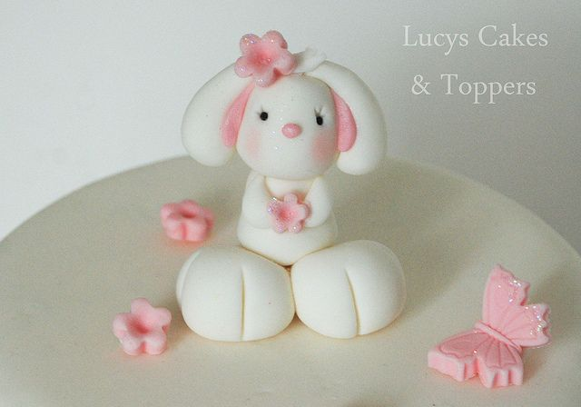 Bunny rabbit edible cake topper christening or 1st birthday by Lucyscakesandtoppers.co.uk, via Flickr