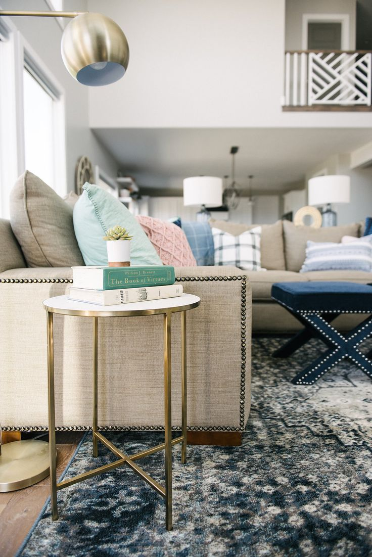 Beautiful Family Room With Navy Mint Blush And Neutral Tones Love The Brass