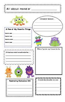MONSTER THEME ALL ABOUT ME PROFILE POSTER (BACK TO SCHOOL) - TeachersPayTeachers.com