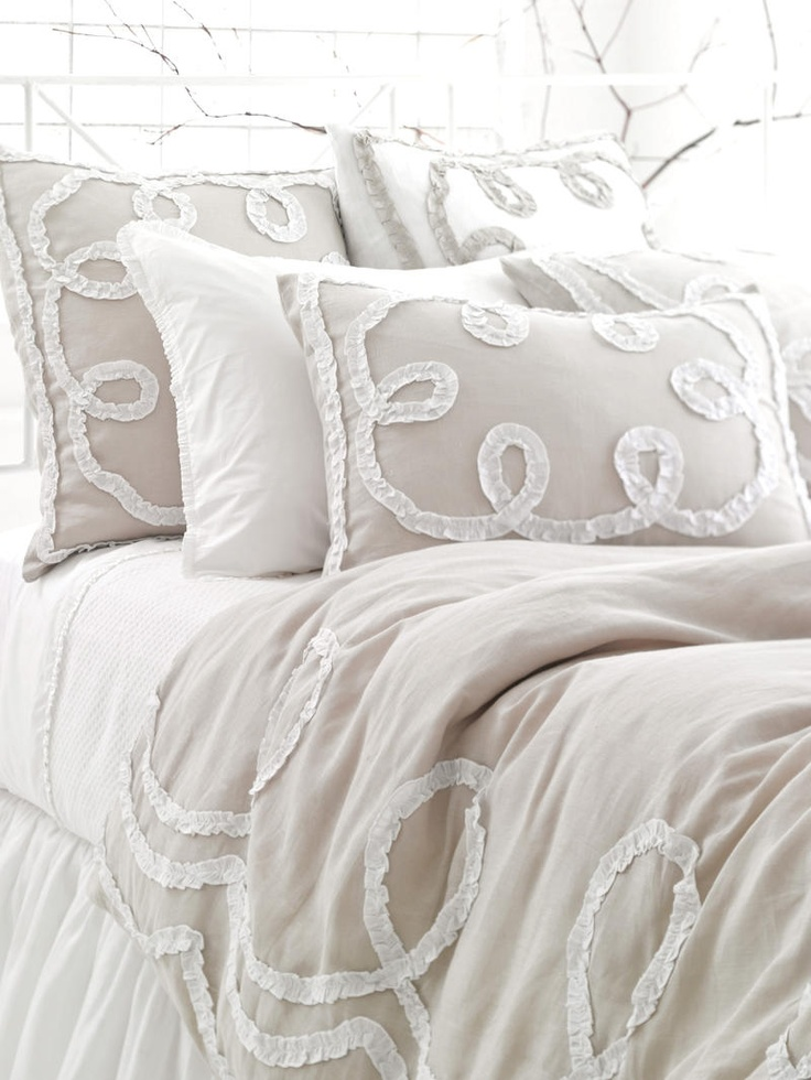 Ruched Linen Platinum/White Duvet Cover Shabby chic