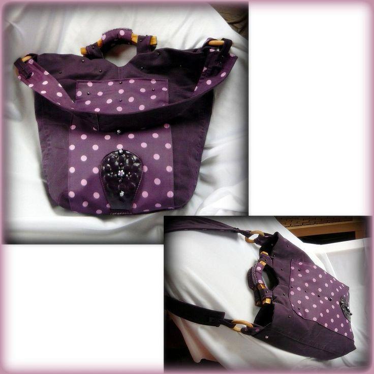 Handmade by Judy Majoros - Purple denim polka dots shoulder bag. Recycled bag
