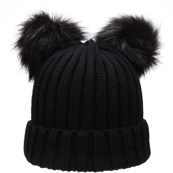Women's Winter Chunky Knit Double Pom Pom Beanie Hat With MIRMARU Hair... ($13) ❤ liked on Polyvore featuring accessories, hats, beanie cap, pom beanie, pompom hat, thick knit beanie and pom pom hat