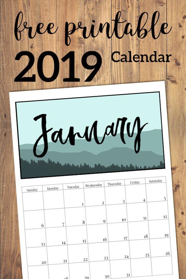 Free Printable Monthly Calendar 2019 Mountain Trees Paper Trail Design Free Printables Free Printable Calendar Calendar